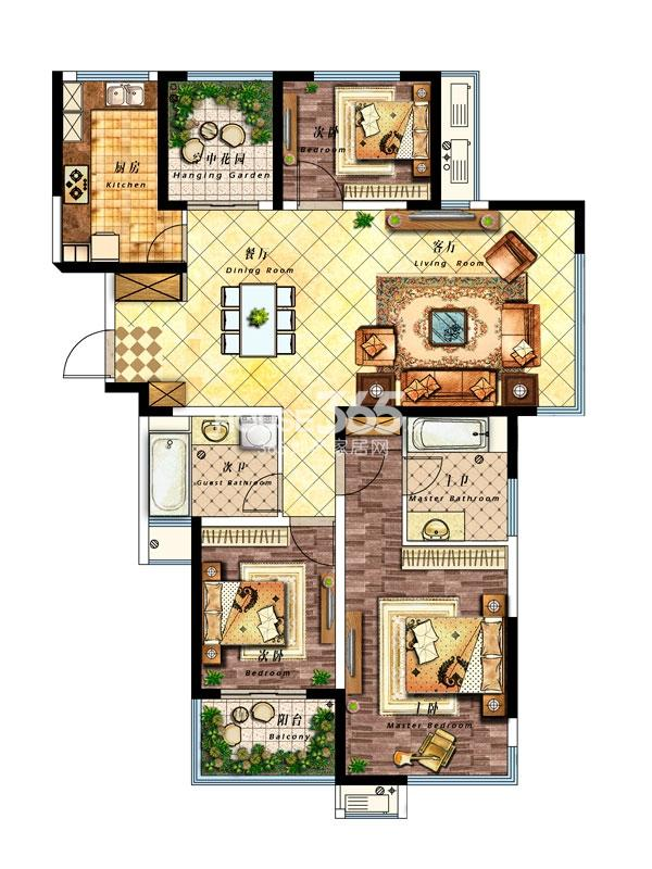 27#楼C户型-140平-四室两厅两卫