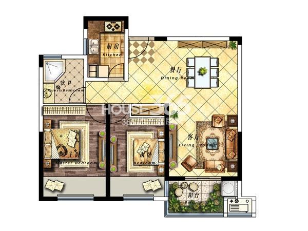 28#楼B户型-92平-两室两厅一卫