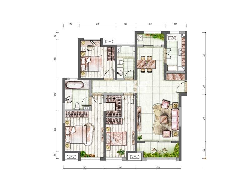 中海城4/5#楼F户型3室2厅2卫1厨 112.00㎡