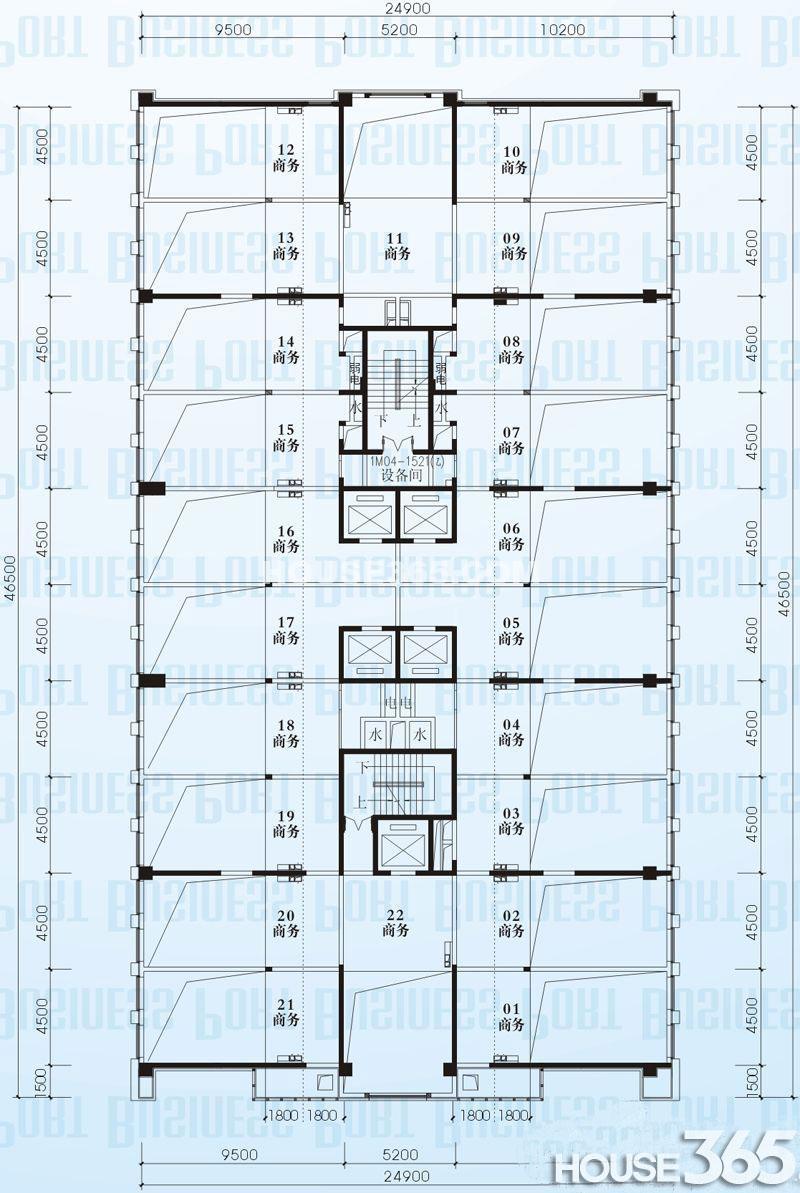 A座四~十八层夹层平面图