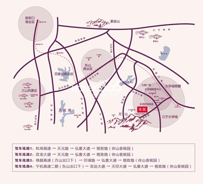 伴山香槟园交通图