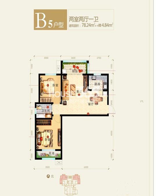 新福兴面孔公社9#楼东单元B5户型二室二厅一卫78.24㎡