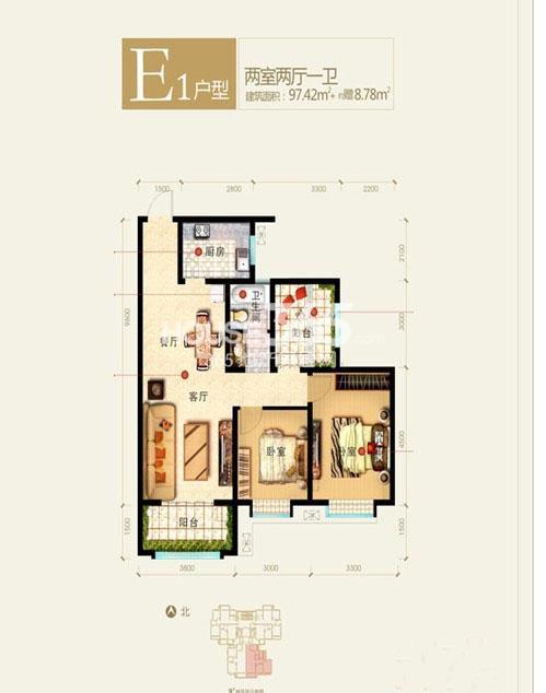 新福兴面孔公社9#楼东单元E1户型二室二厅一卫97.42㎡