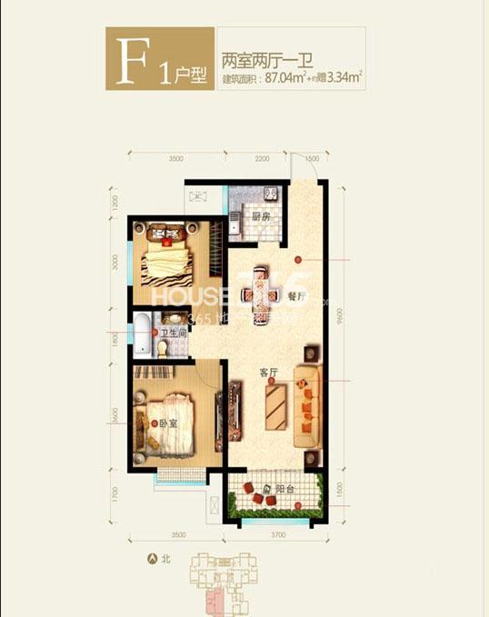 新福兴面孔公社9#楼东单元F1户型二室二厅一卫87.04㎡