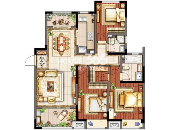 F2户型 三室两厅两卫 138平米