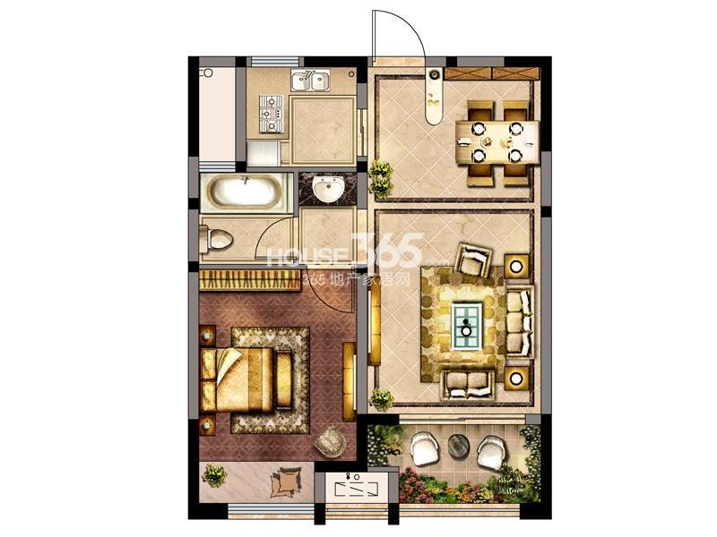 8#-C户型一室两厅一厨一卫 58.9㎡