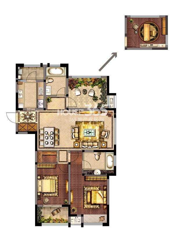 8#-A户型 两室两厅一厨两卫+空中花园 118.17㎡