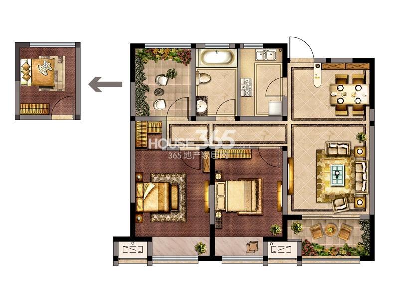 7#-B户型 两室两厅一厨一卫+空中花园 89.18㎡