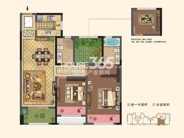 1#楼  B户型 2+1房2厅2卫