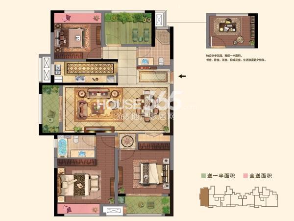 2#楼  E户型 3+1房2厅2卫