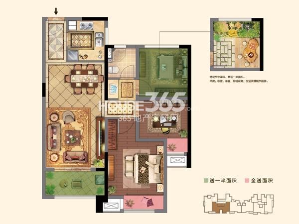 1#楼  D户型 2+1房2厅1卫