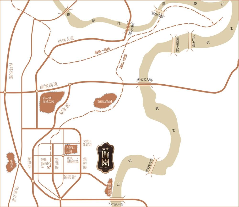 天安数码城江畔珑园交通图