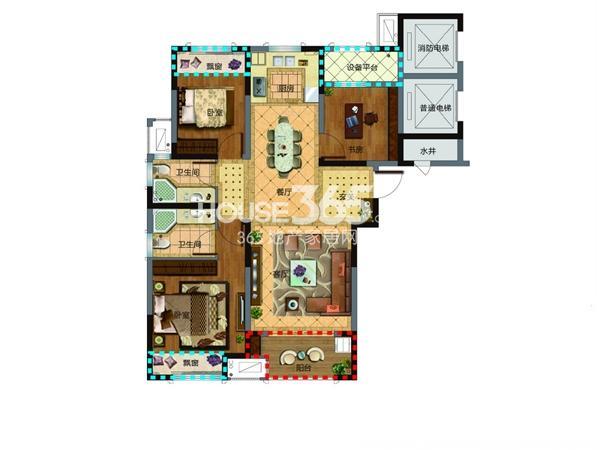 新湖明珠城三期13#14#标准层E-户型3室2厅2卫1厨 115.00㎡