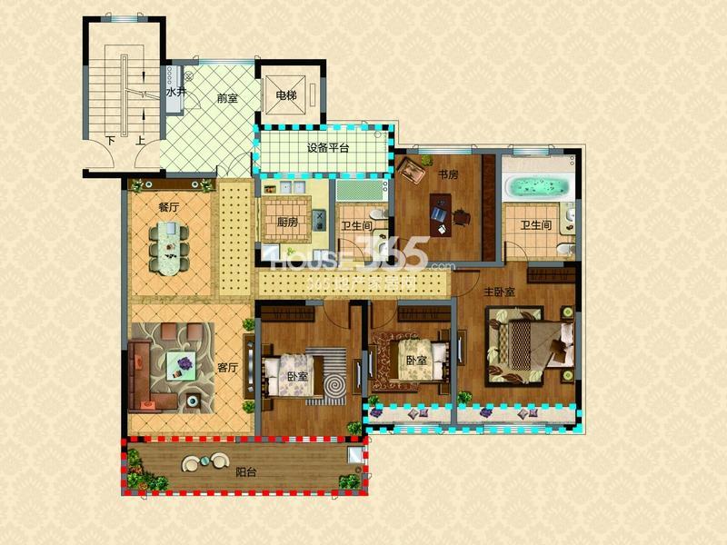 新湖明珠城三期13#14#标准层F户型4室2厅2卫1厨 150.00㎡