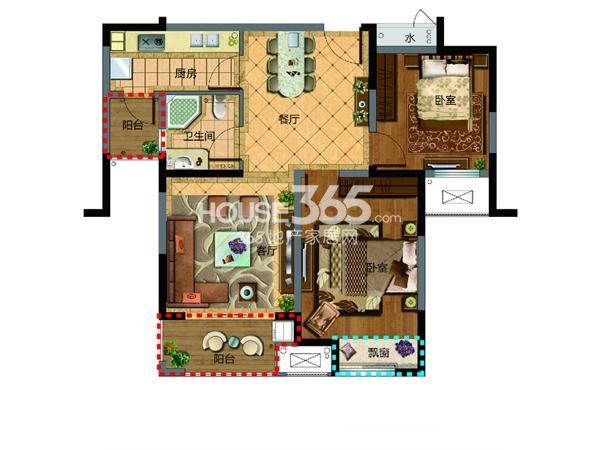 新湖明珠城三期13#14#标准层B户型2室2厅1卫1厨 87.00㎡