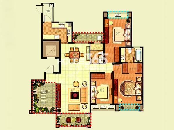 新湖明珠城二期25#标准层C户型3室2厅2卫1厨 167.00㎡