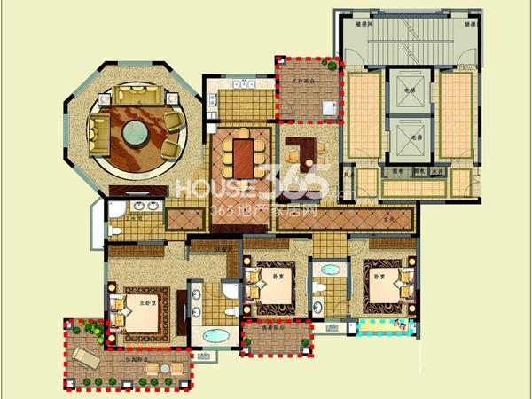 新湖明珠城二期25#标准层A户型4室2厅3卫1厨 270.00㎡
