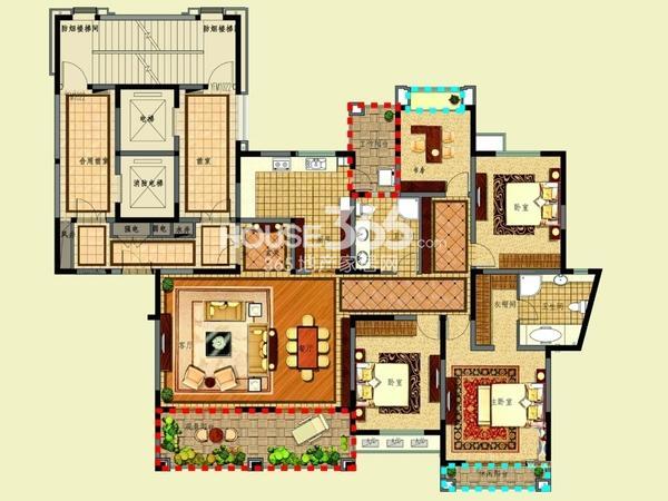 新湖明珠城二期25#标准层B户型4室2厅2卫1厨 225.00㎡