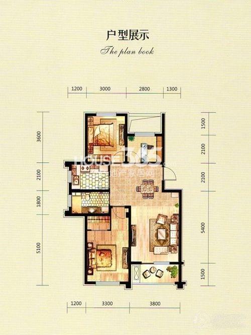 富城铭邸三室二厅一卫户型图93平米