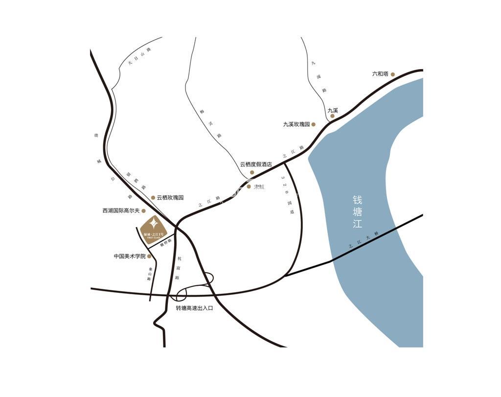 绿城之江1号交通图