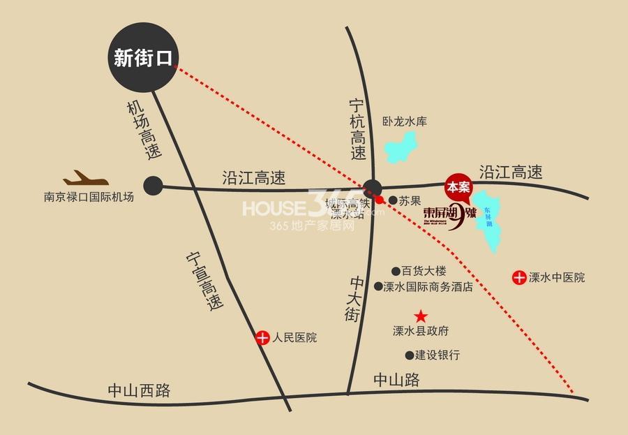 东屏湖9号交通图