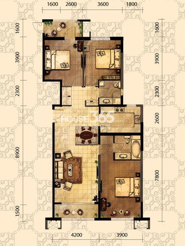 龙之梦畅园A2户型3室2厅2卫158.58㎡