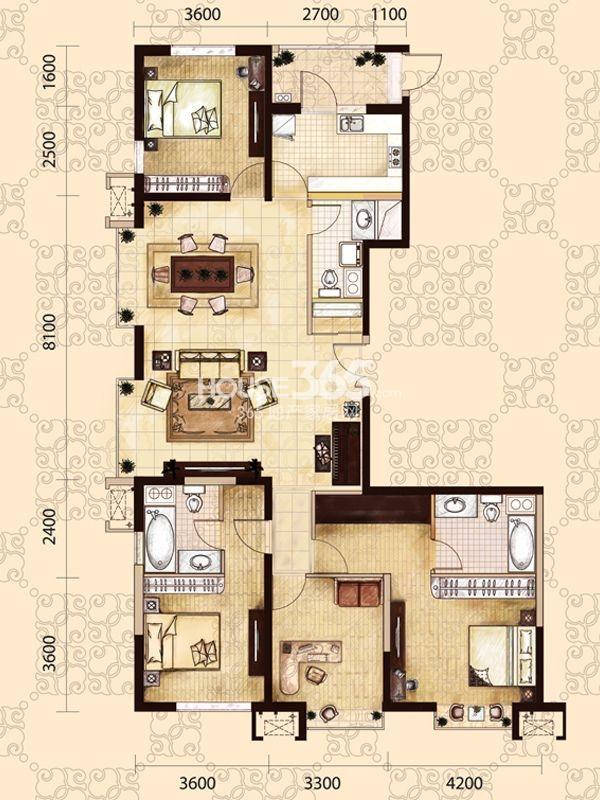龙之梦畅园A1户型4室2厅3卫182.30㎡