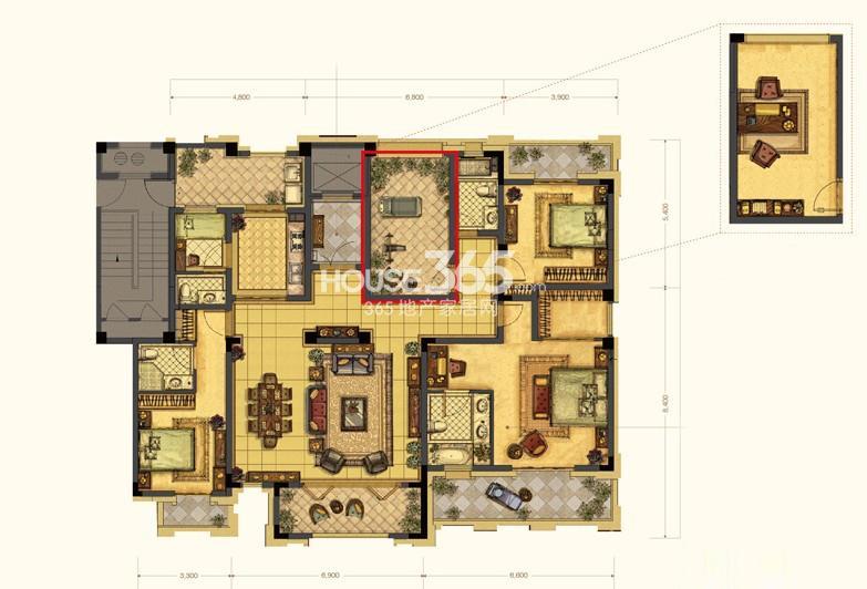 中吴红玺一期大平层标准层E2-5户型4室3厅4卫1厨 206.00㎡
