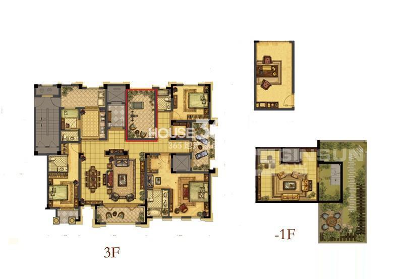 中吴红玺一期大平层标准层E2-3户型4室3厅4卫1厨 255.00㎡