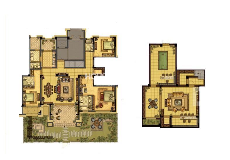 中吴红玺一期大平层标准层E2-1户型4室2厅3卫1厨 308.00㎡