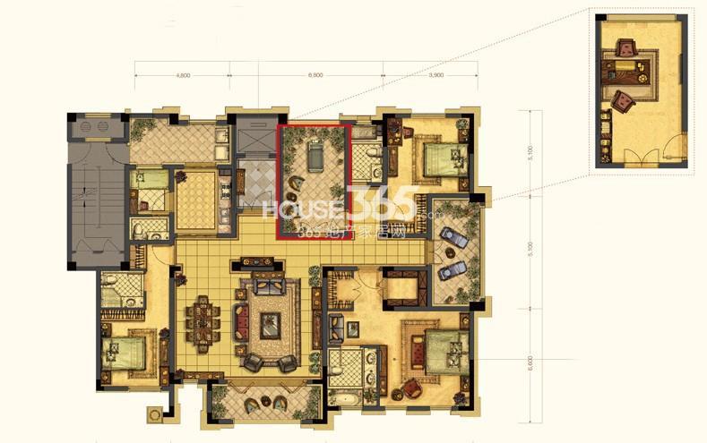 中吴红玺一期大平层标准层E2-4户型4室3厅4卫1厨 222.00㎡