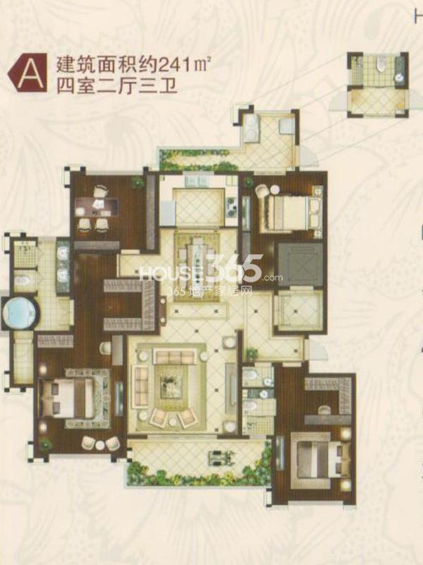 B1#楼A户型 四室两厅三卫一厨