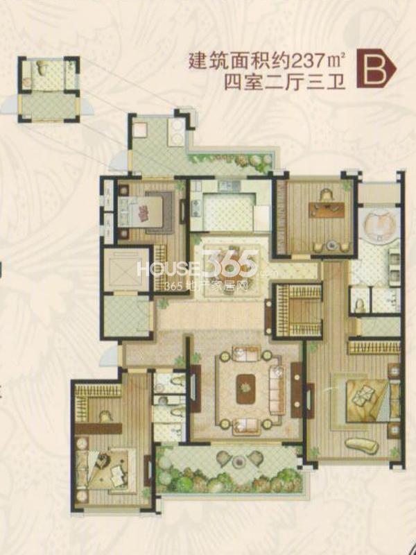 B1#楼B户型 四室两厅三卫一厨