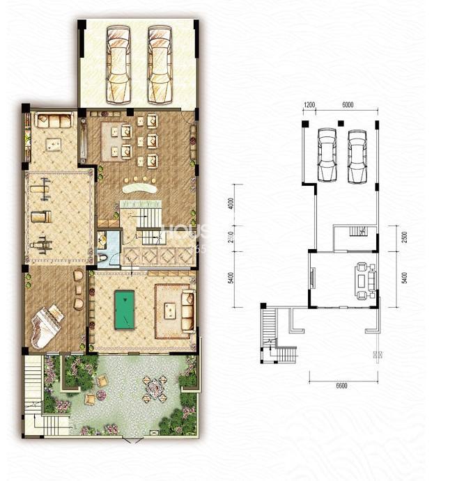 东原嘉阅湾一期4/5/6联排负一层A户型5室2厅4卫1厨 236.00㎡