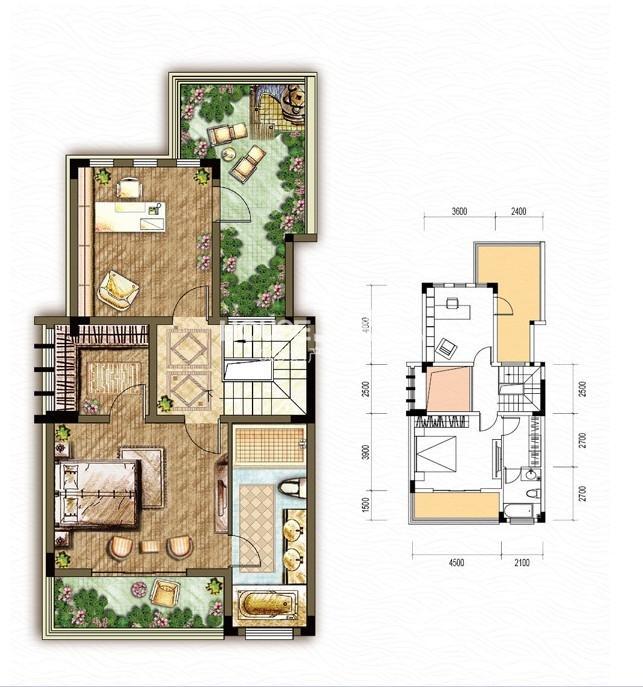 东原嘉阅湾一期4/5/6联排三层A户型5室2厅4卫1厨 236.00㎡