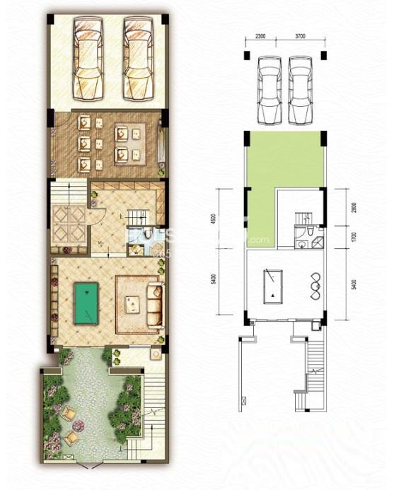 东原嘉阅湾一期5联排负一层B1户型5室2厅4卫1厨 230.00㎡