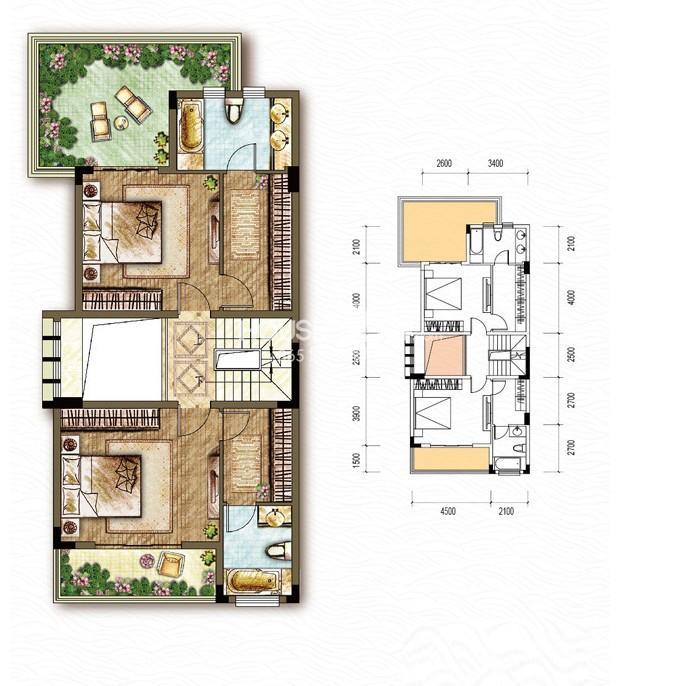 东原嘉阅湾一期4/5/6联排二层A户型5室2厅4卫1厨 236.00㎡