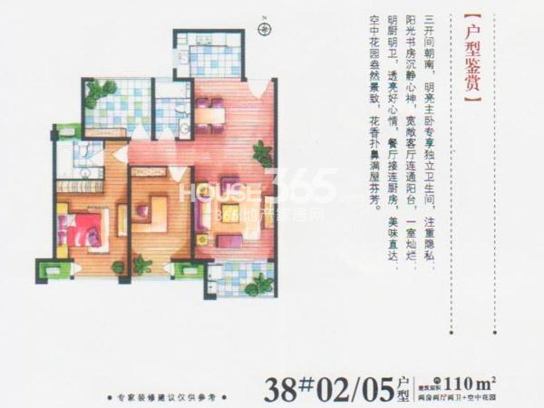 38#楼02/05户型-2房2厅2卫+空中花园-110平