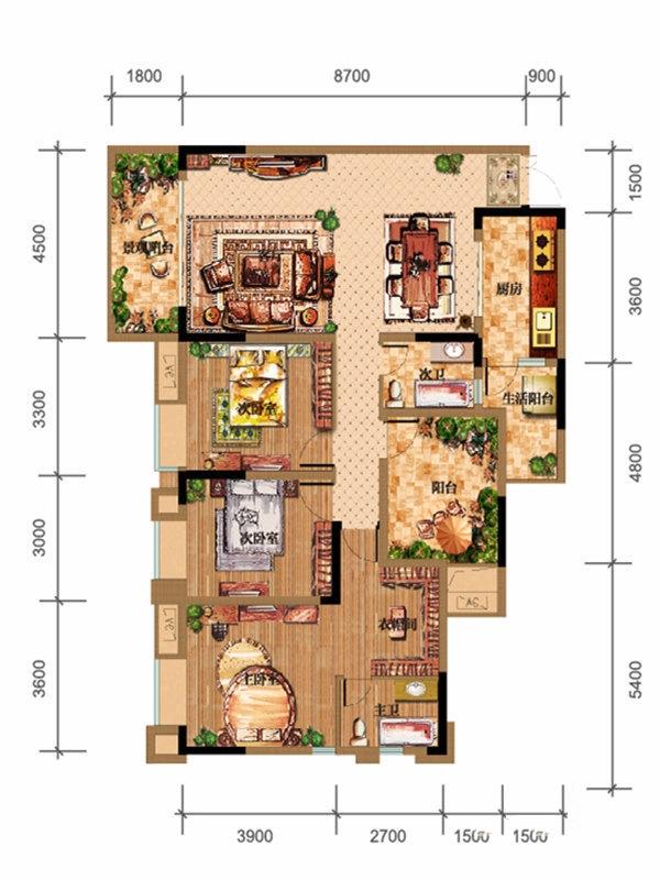 鸥鹏泊雅湾一期1号楼C2、C3户型3室2厅2卫1厨 145.87㎡