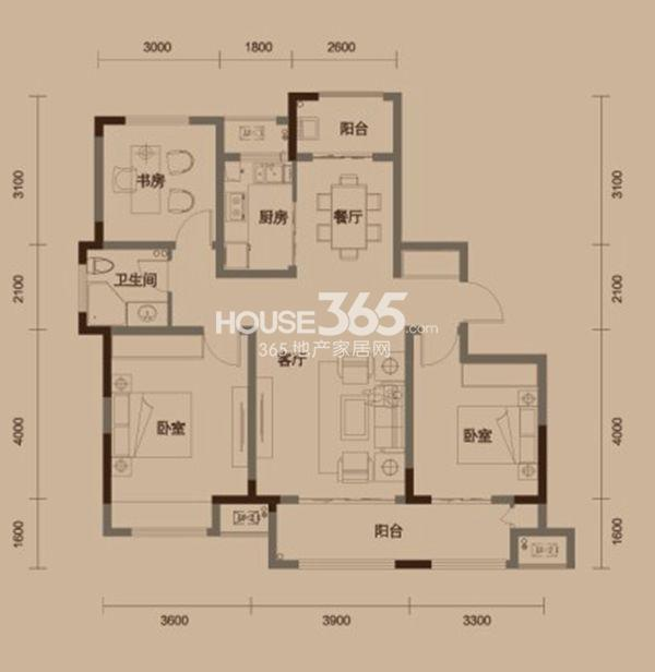 绿地中央广场户型图 C2户型 三室两厅一卫 建筑面积约120