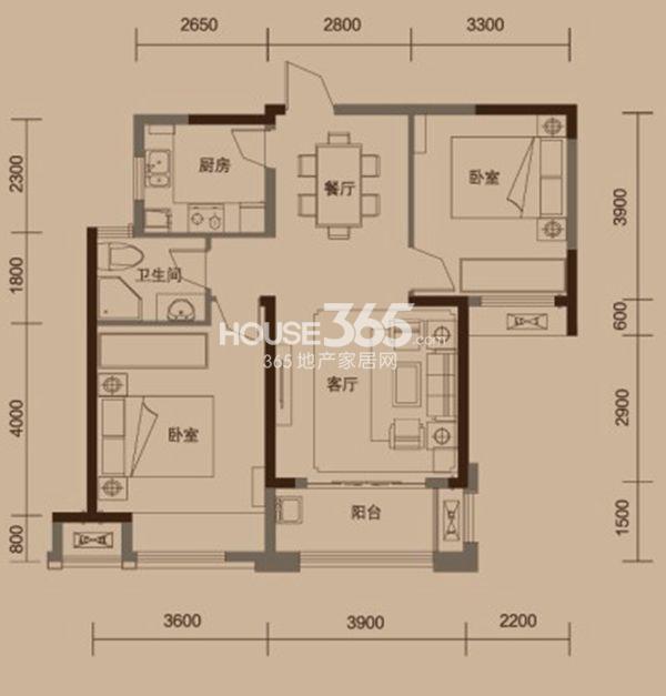 绿地中央广场户型图 B1户型 两室两厅一卫 建筑面积面积约88