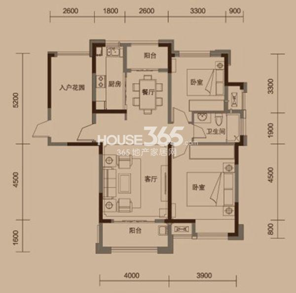 绿地中央广场户型图 B2户型 两室两厅一卫 建筑面积面积约108