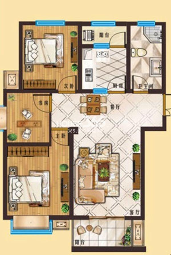 龙湖春天户型图 a1 三室两厅一卫