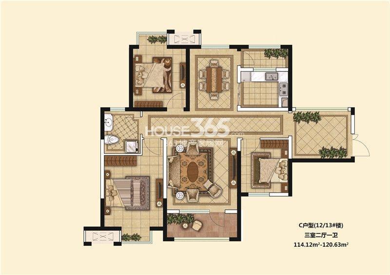 85平方三室二厅设计图展示