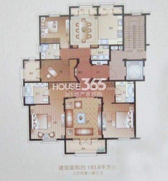 户型图 4室3厅3卫 194