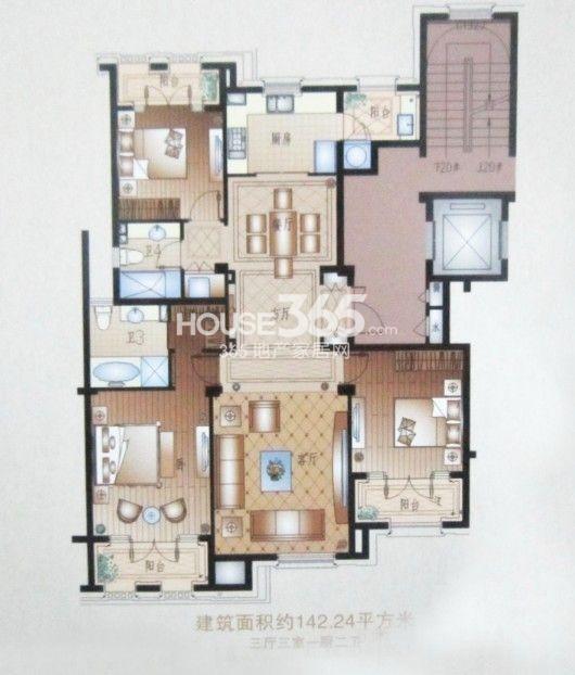 户型图 3室3厅2卫 142