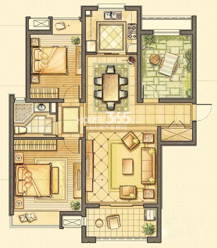 户型图 华润国际社区B-2户型3室2厅1卫116.00