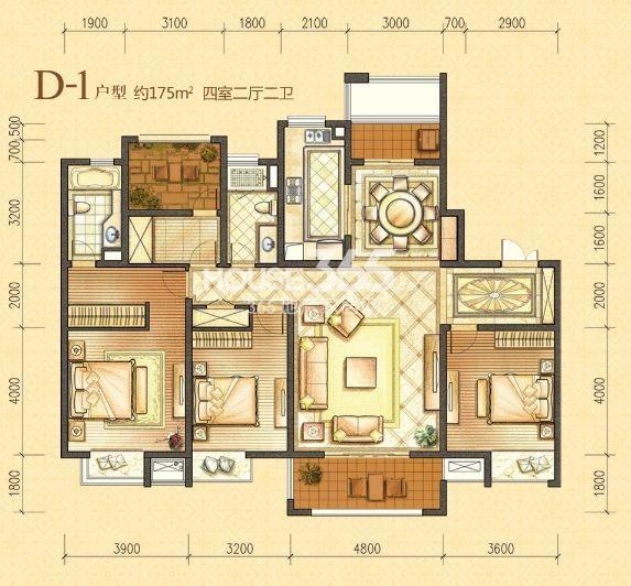 户型图 6号楼D-1户型 约175平米四室二厅二卫