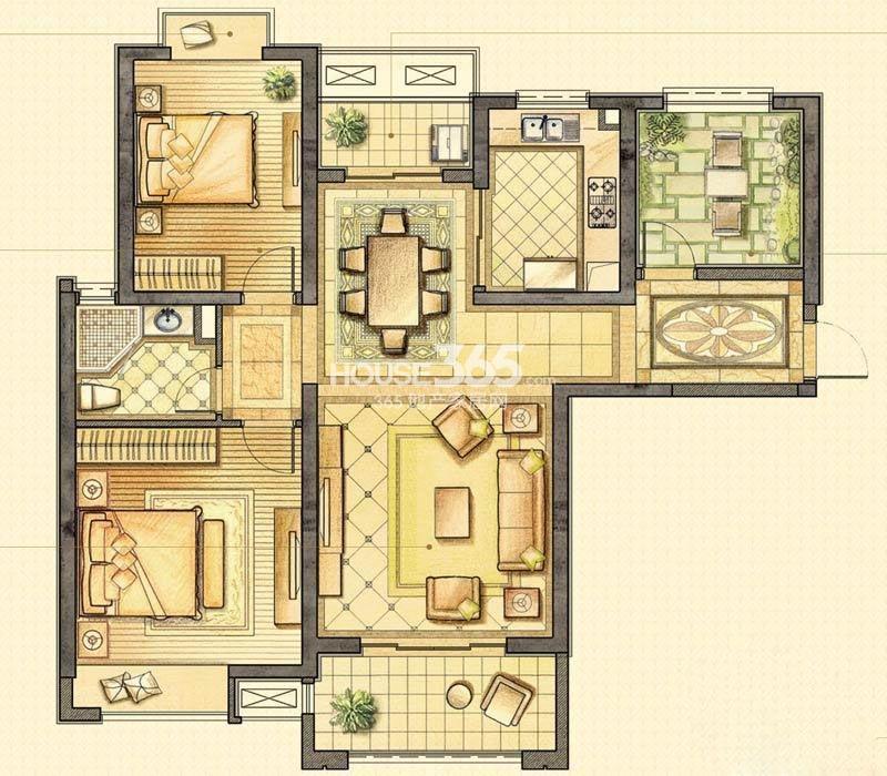 户型图 华润国际社区B-1户型3室2厅1卫116.00