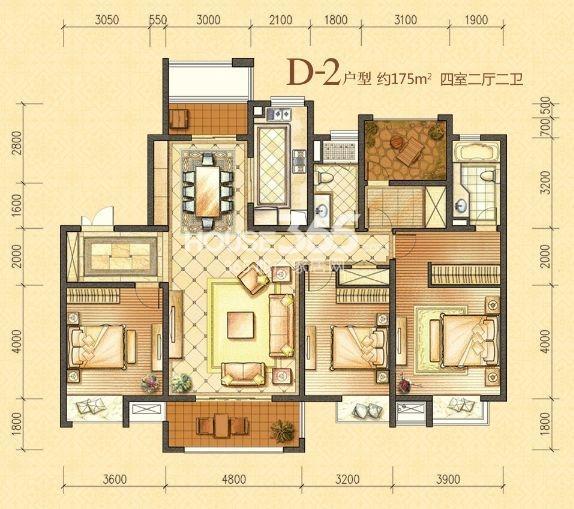 户型图 6号楼D-2户型 约175平米四室二厅二卫